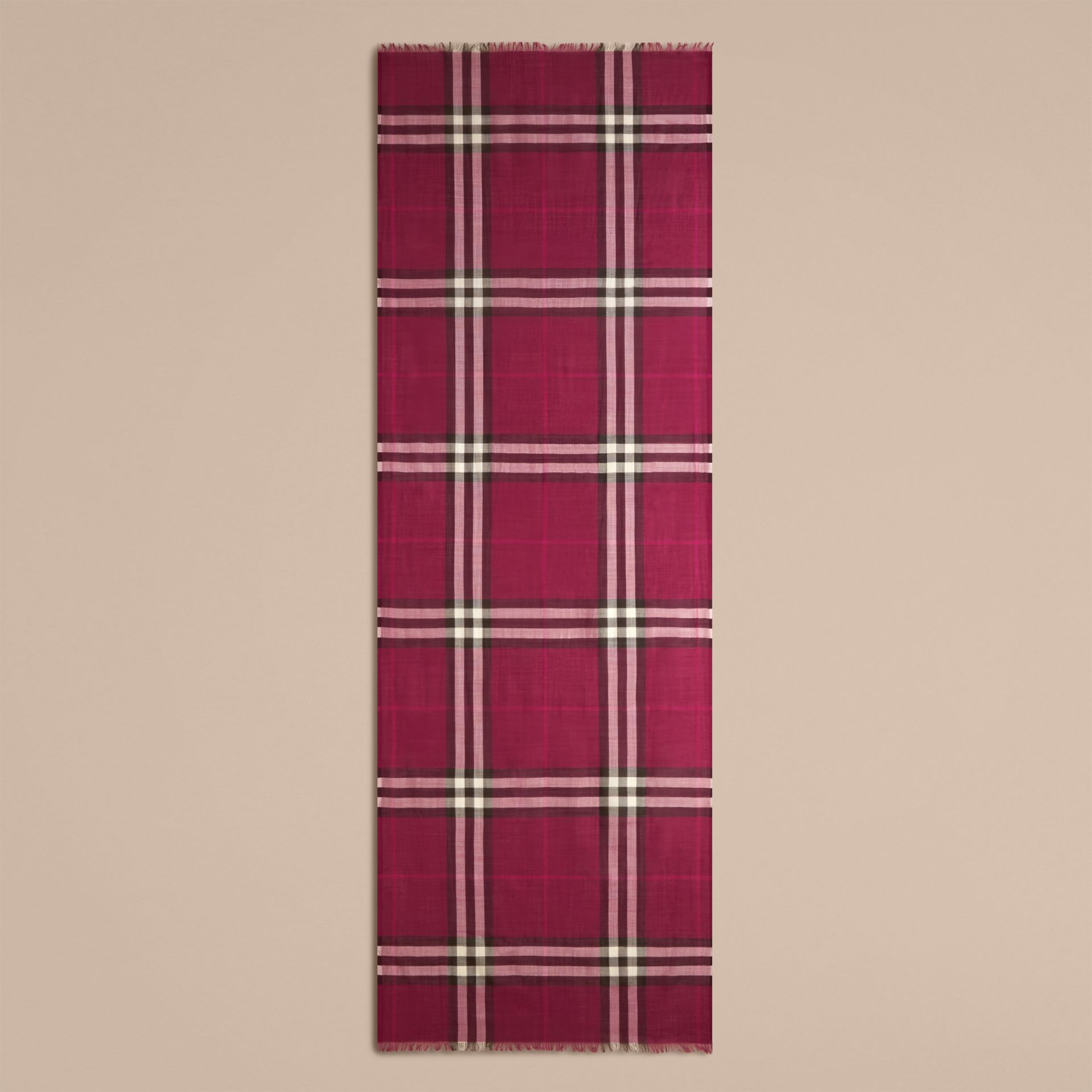 Lightweight Check Wool and Silk Scarf in Plum - gallery image 5