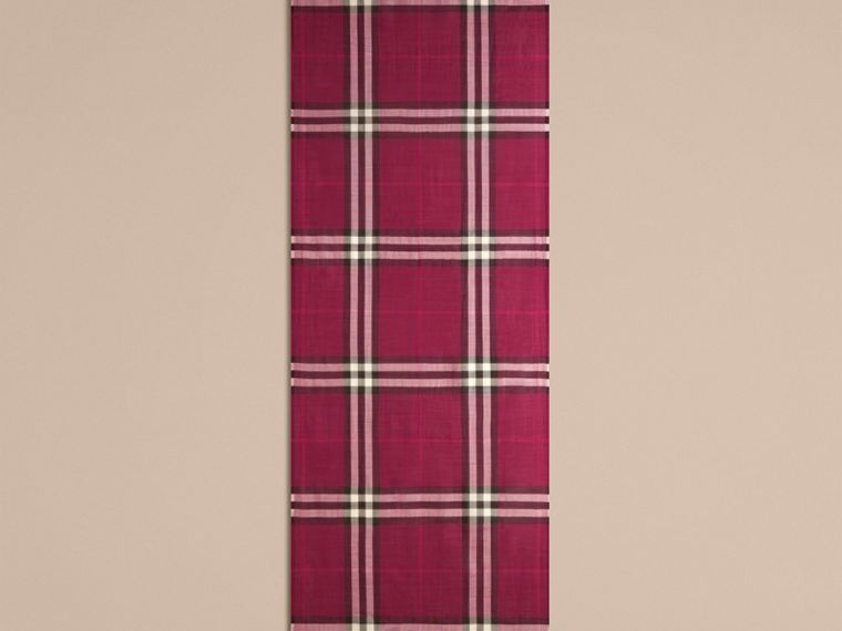 Lightweight Check Wool and Silk Scarf in Plum - cell image 4