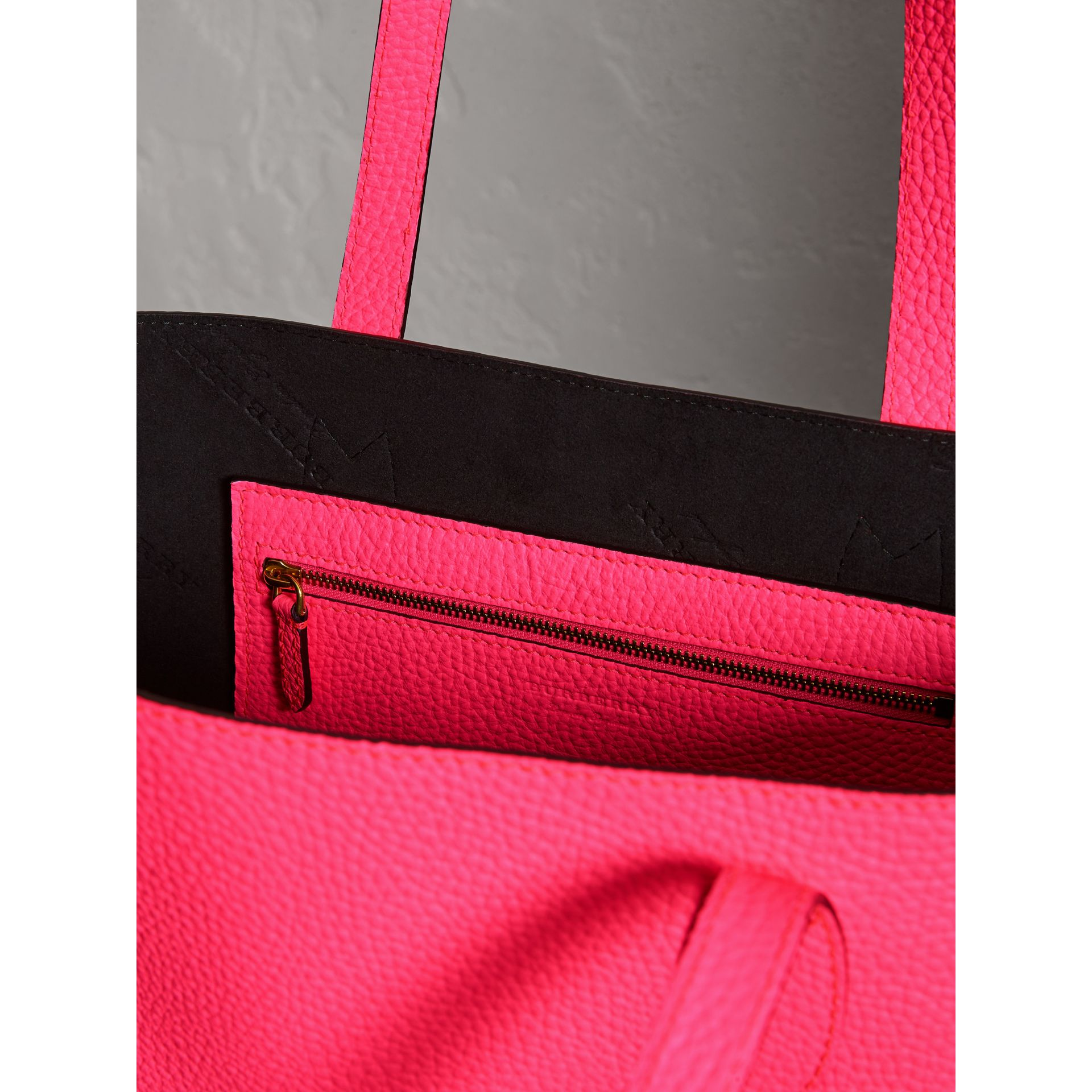 Embossed Leather Tote in Neon Pink | Burberry Singapore - gallery image 5