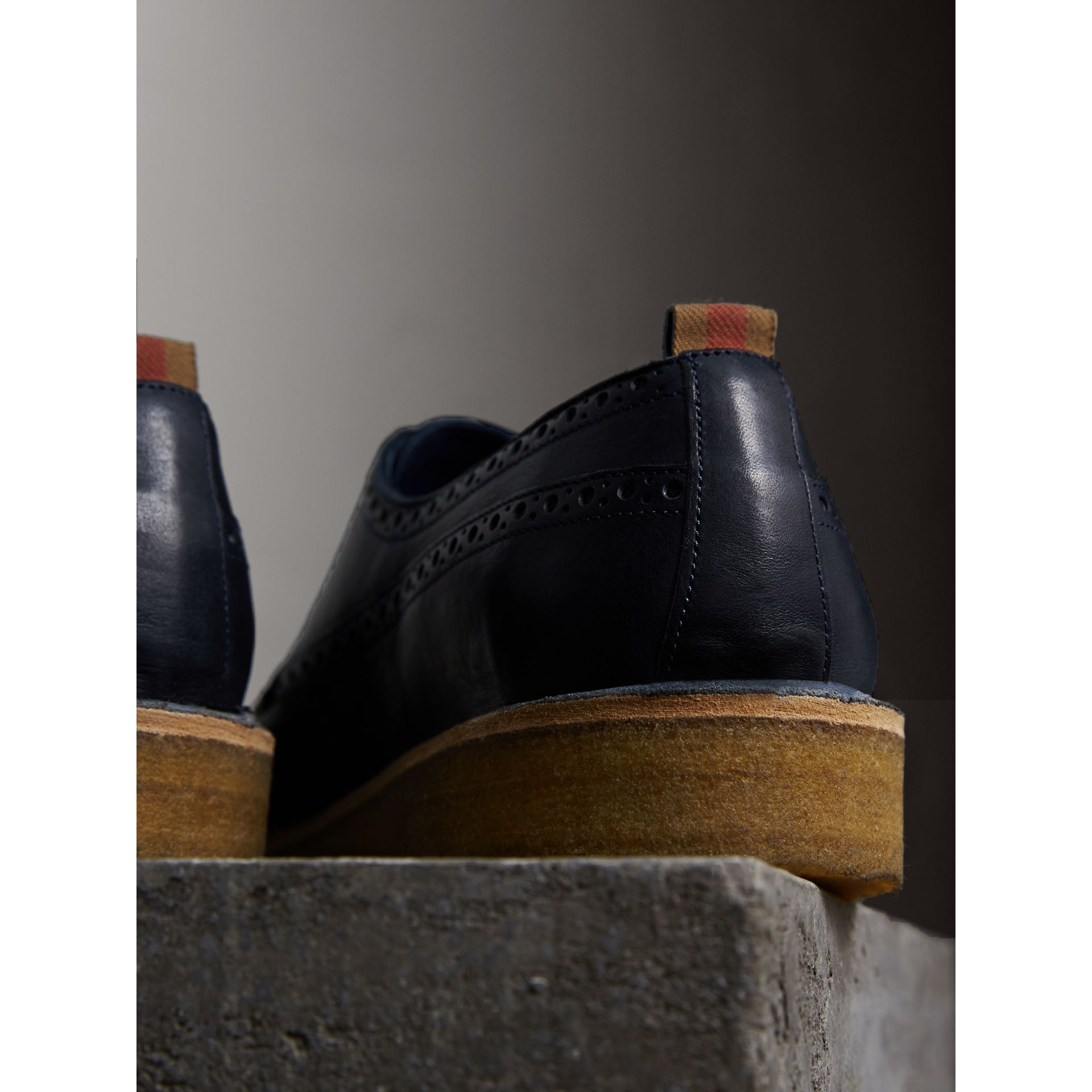 Raised Toe-cap Nappa Leather Brogues in Navy - Men | Burberry - gallery image 3