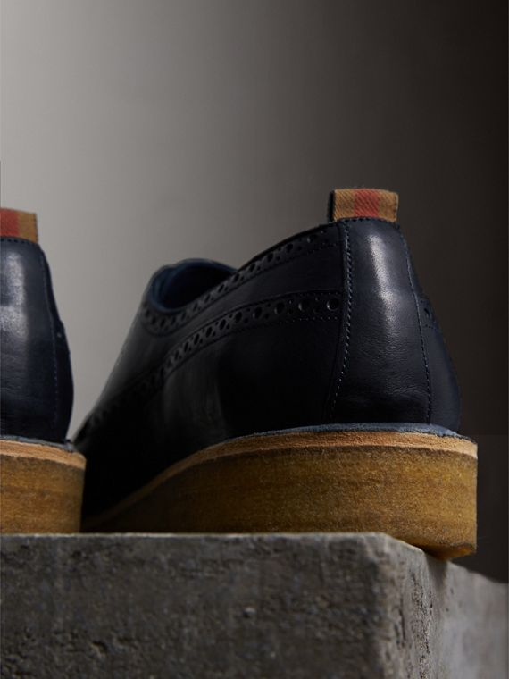 Raised Toe-cap Nappa Leather Brogues in Navy - Men | Burberry - cell image 2
