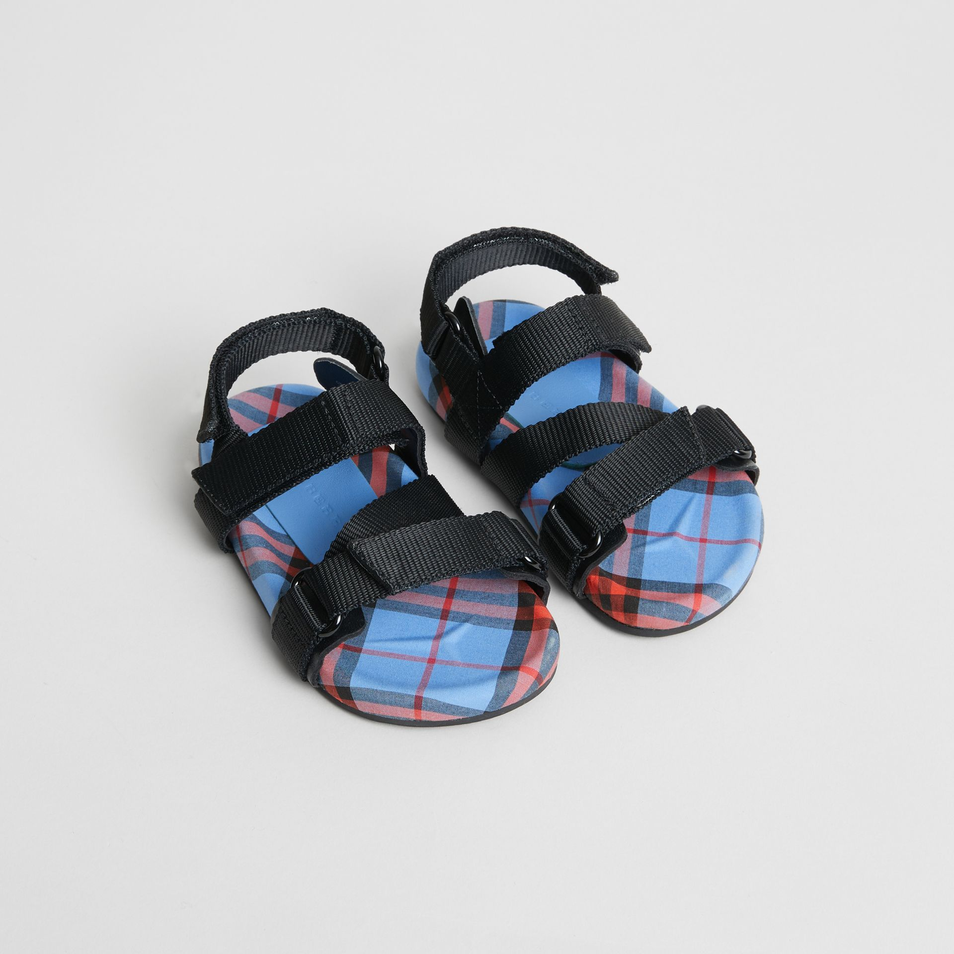 Ripstop Strap Check Cotton Sandals in Cornflower Blue - Children | Burberry - gallery image 0
