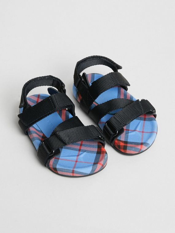 Ripstop Strap Check Cotton Sandals in Cornflower Blue