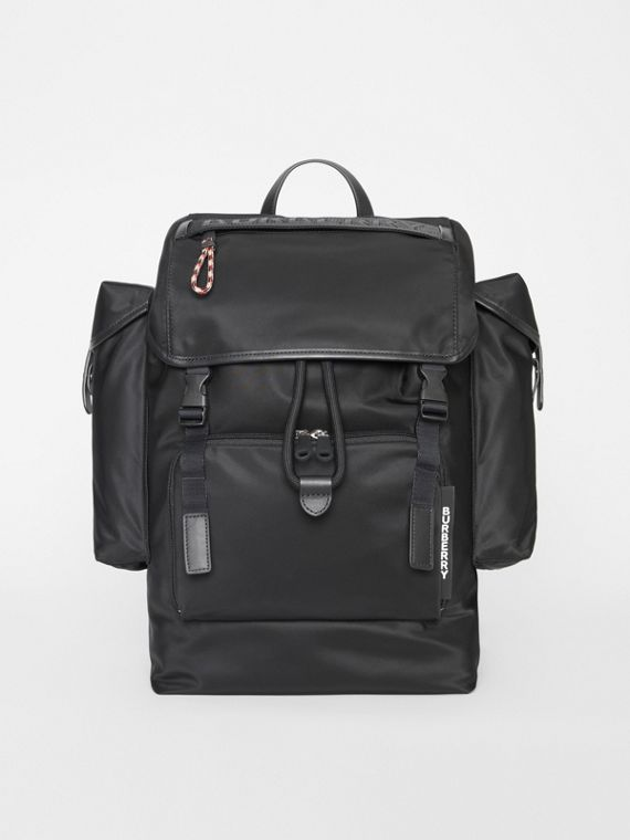 Logo Detail Nylon and Leather Backpack in Black