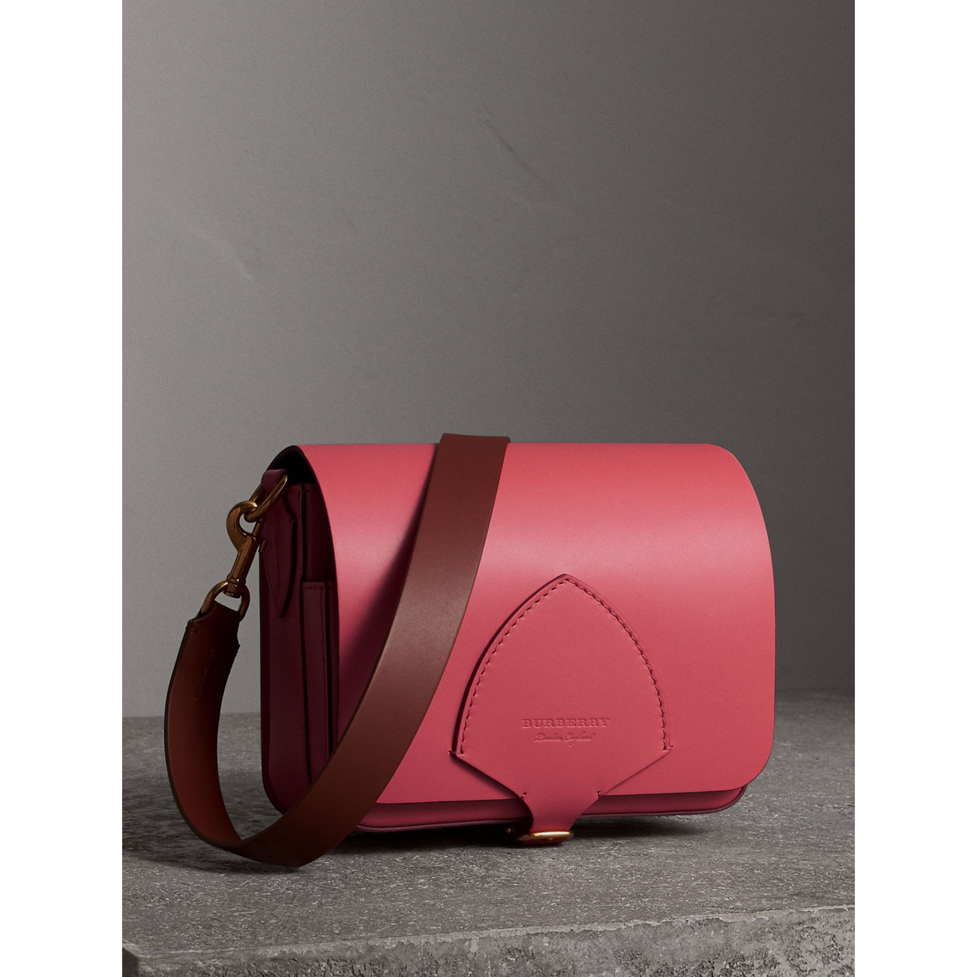 The Square Satchel in Leather in Bright Peony - Women | Burberry United States - gallery image 7