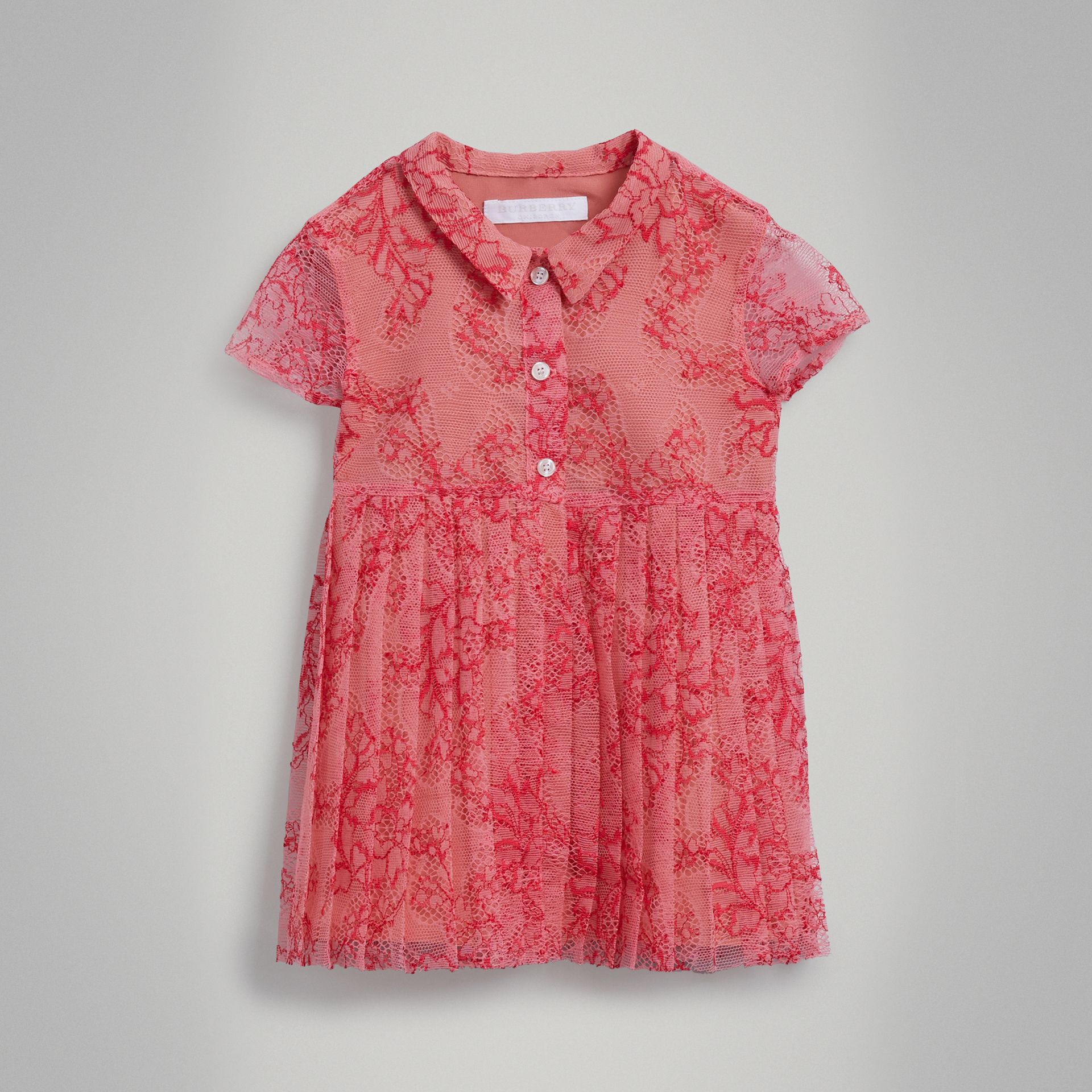 Pleated Lace Dress in Pale Apricot/coral - Children | Burberry - gallery image 0