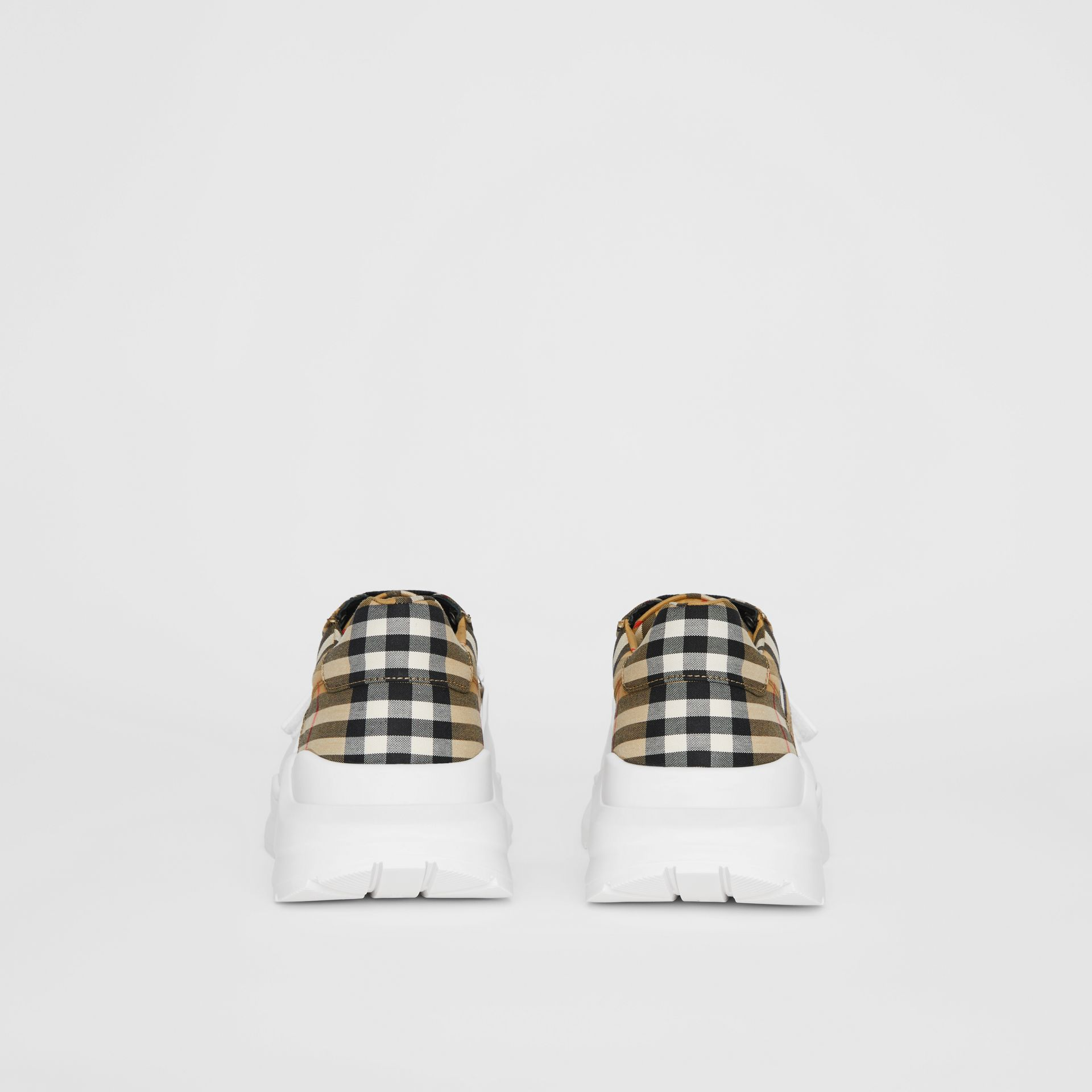 Vintage Check Cotton Sneakers in Antique Yellow - Men | Burberry Australia - gallery image 4