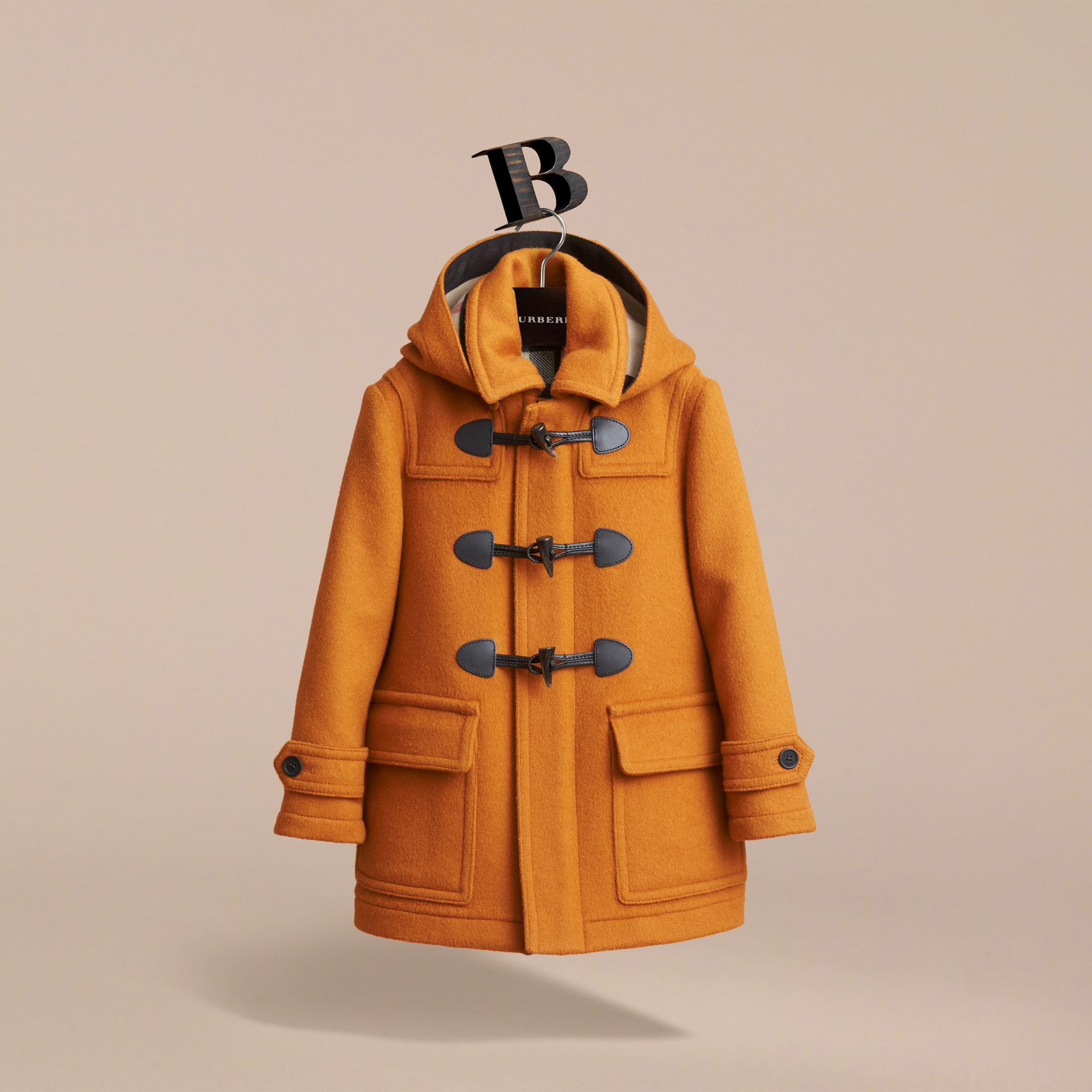 Wool Duffle Coat with Check-lined Hood in Bright Ochre - Girl | Burberry - gallery image 3