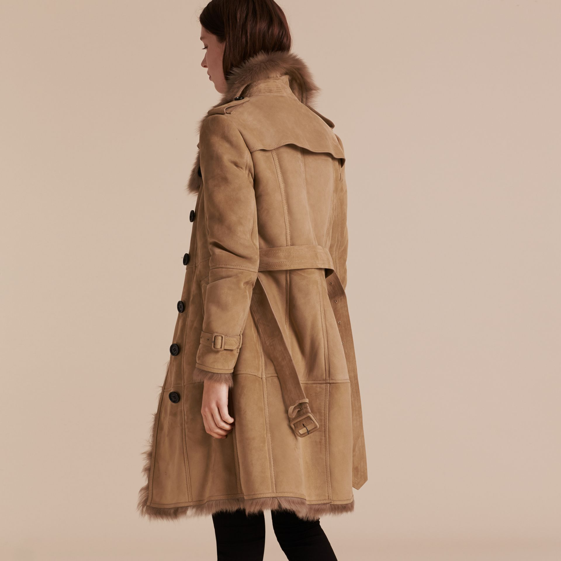 Camel Shearling Trench Coat - gallery image 3