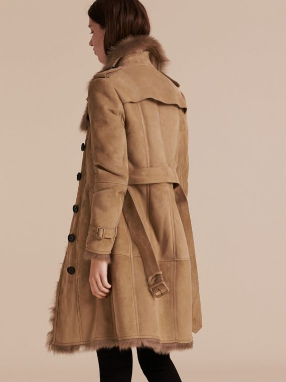 Camel Shearling Trench Coat - cell image 2