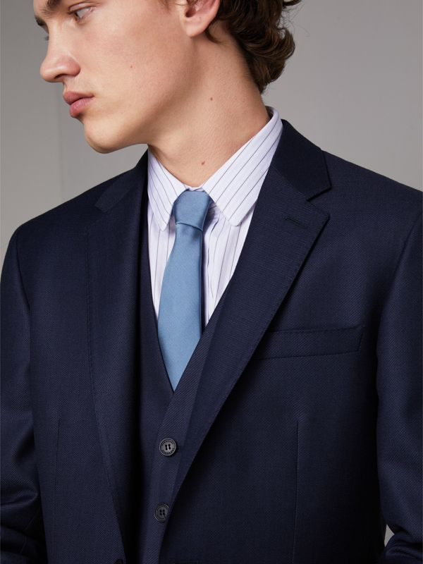 Slim Cut Check Silk Twill Tie in Chalk Blue - Men | Burberry - cell image 2