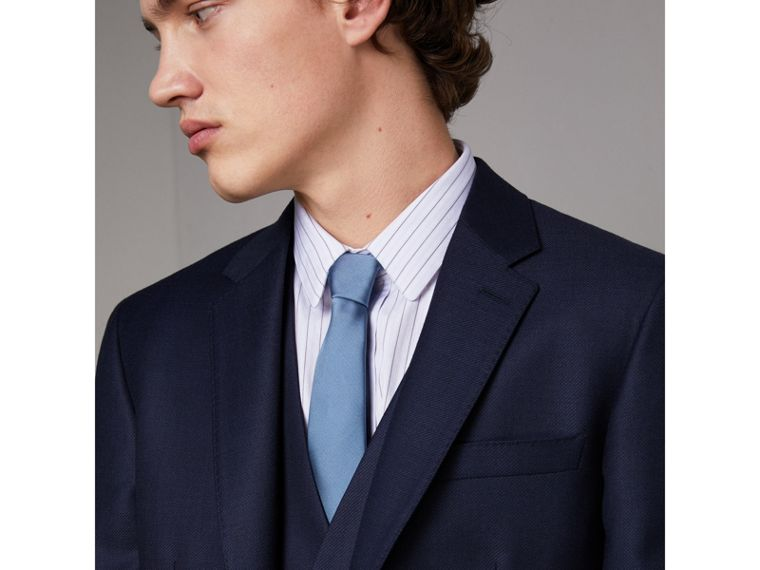 Slim Cut Check Silk Twill Tie in Chalk Blue - Men | Burberry Singapore - cell image 2