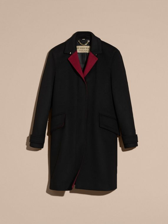 Black Single-breasted Wool Cashmere Military Coat - cell image 3