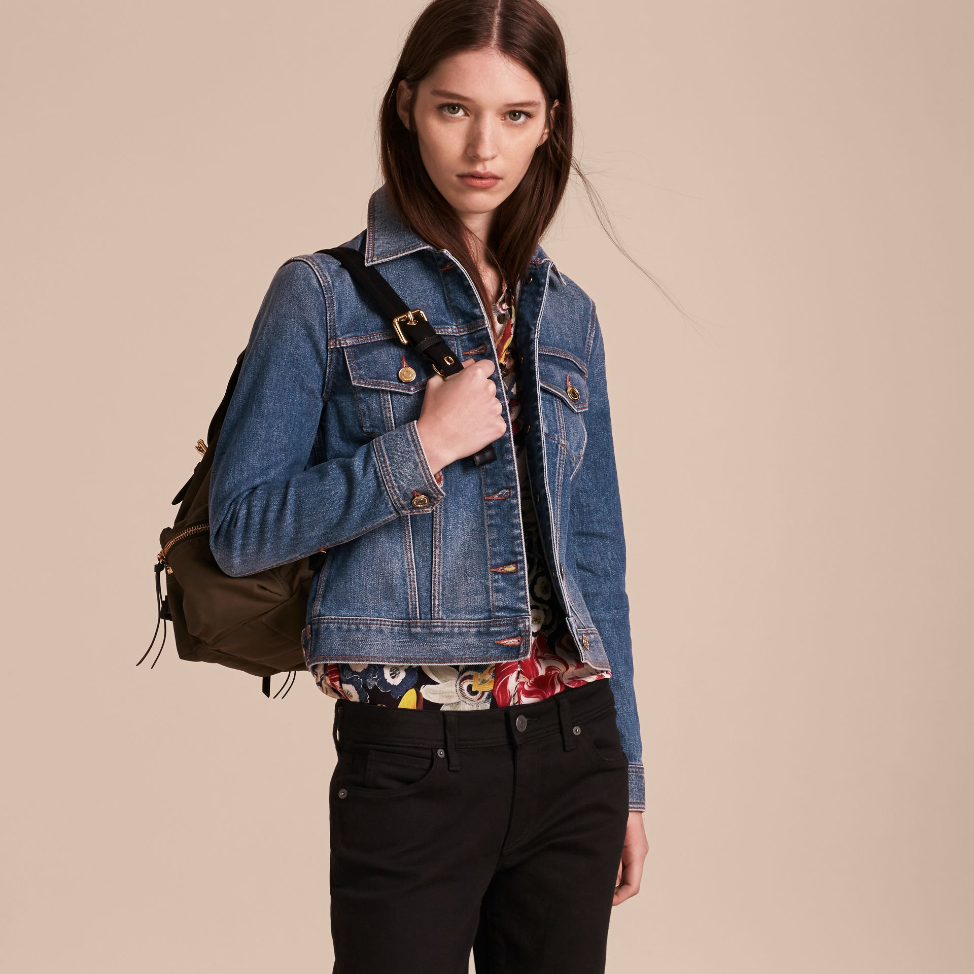 Check Detail Denim Jacket in Light Indigo - gallery image 7