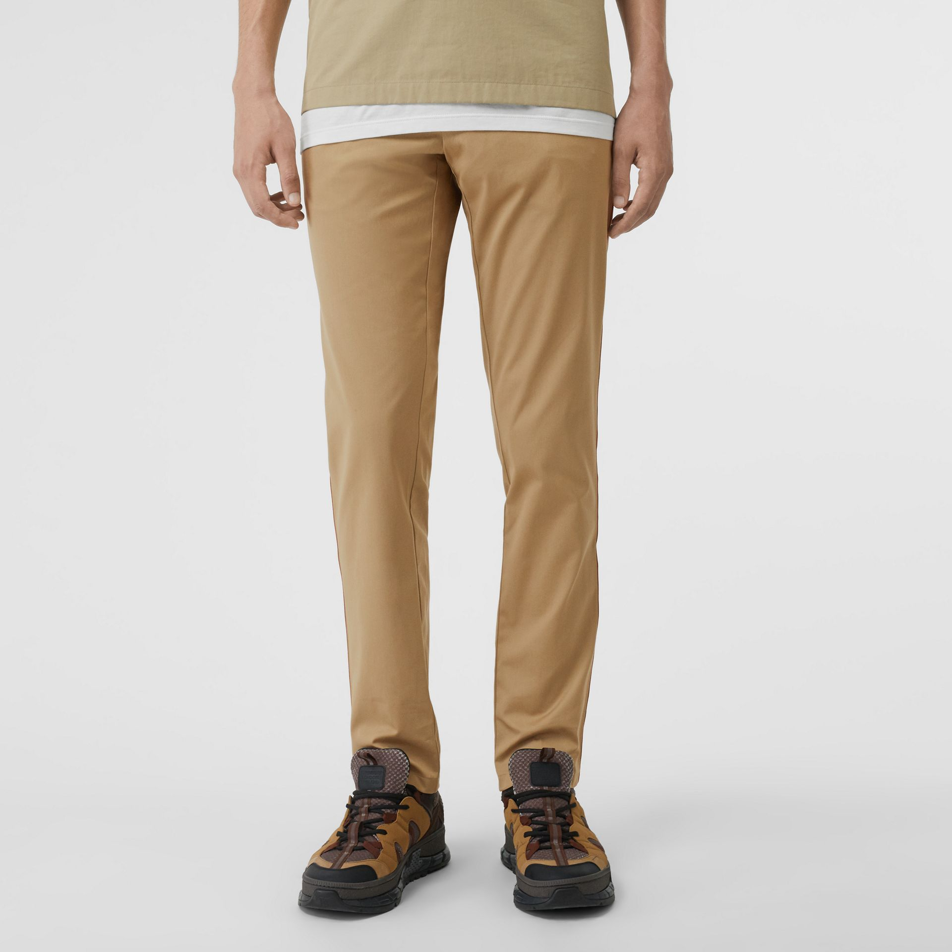 Slim Fit Icon Stripe Detail Cotton Chinos in Honey - Men | Burberry - gallery image 4