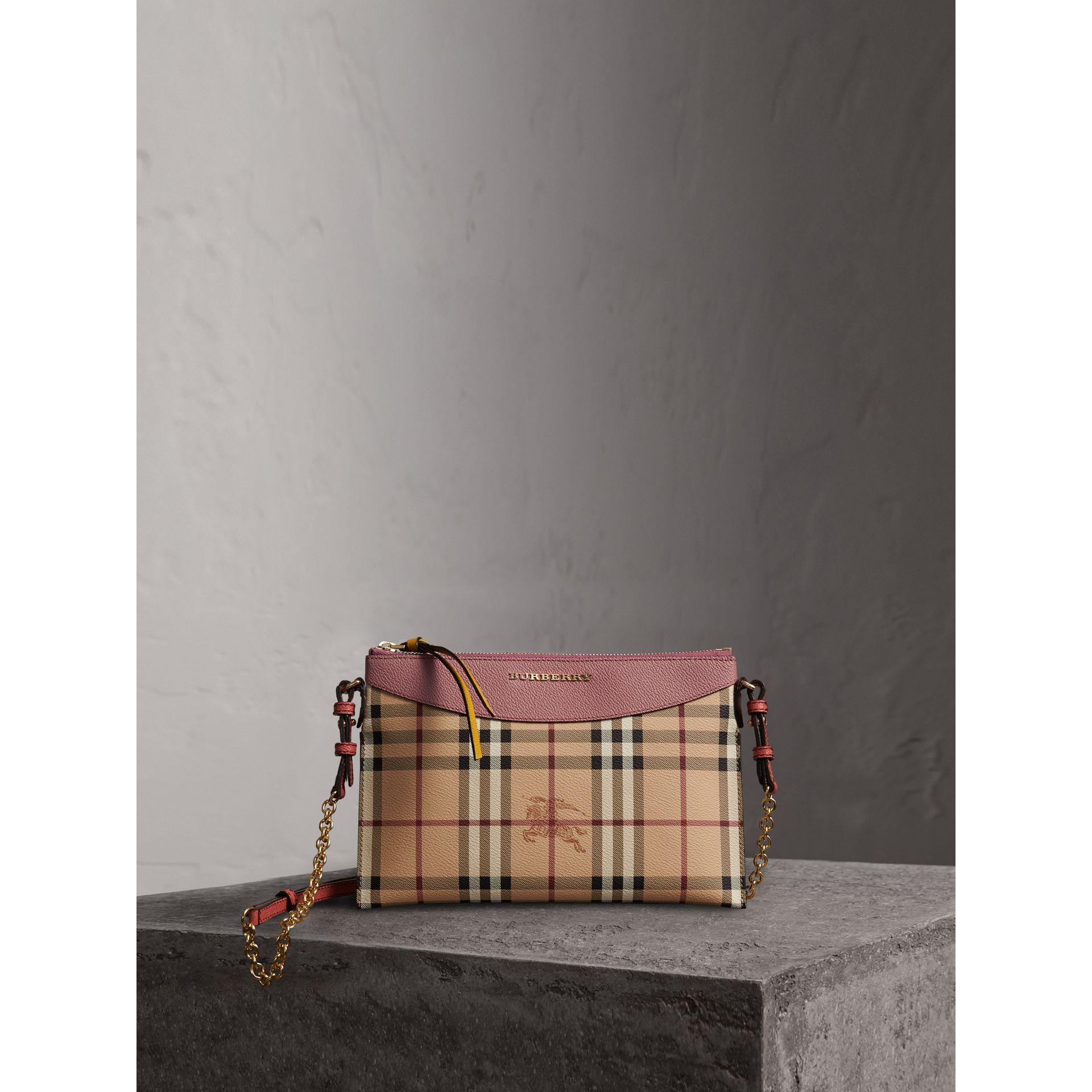 Haymarket Check and Two-tone Leather Clutch Bag in Dusty Pink/multicolour - Women | Burberry - gallery image 8