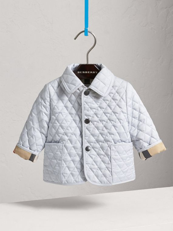 Check Detail Diamond Quilted Jacket in Ice Blue
