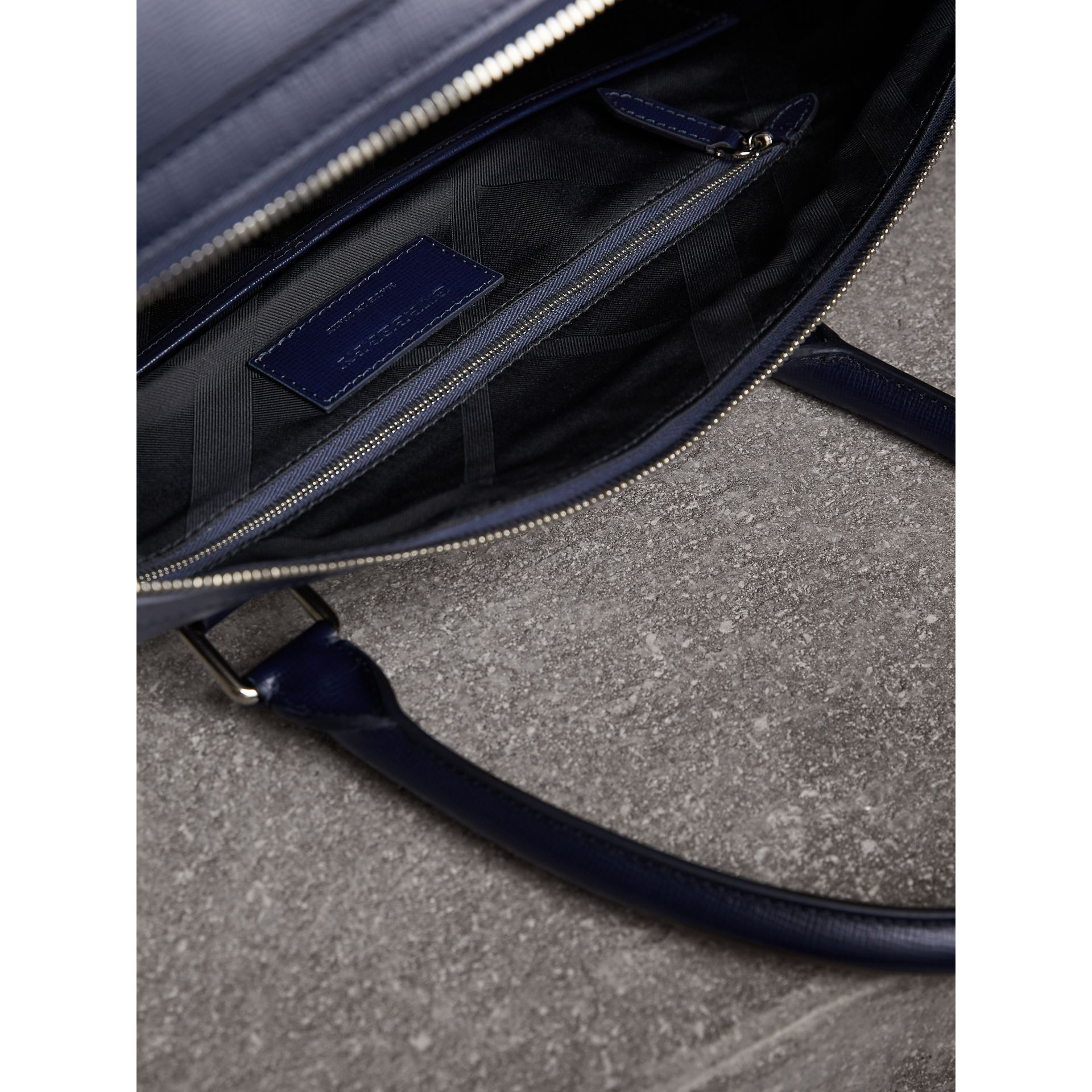 London Leather Holdall in Dark Navy - Men | Burberry - gallery image 6