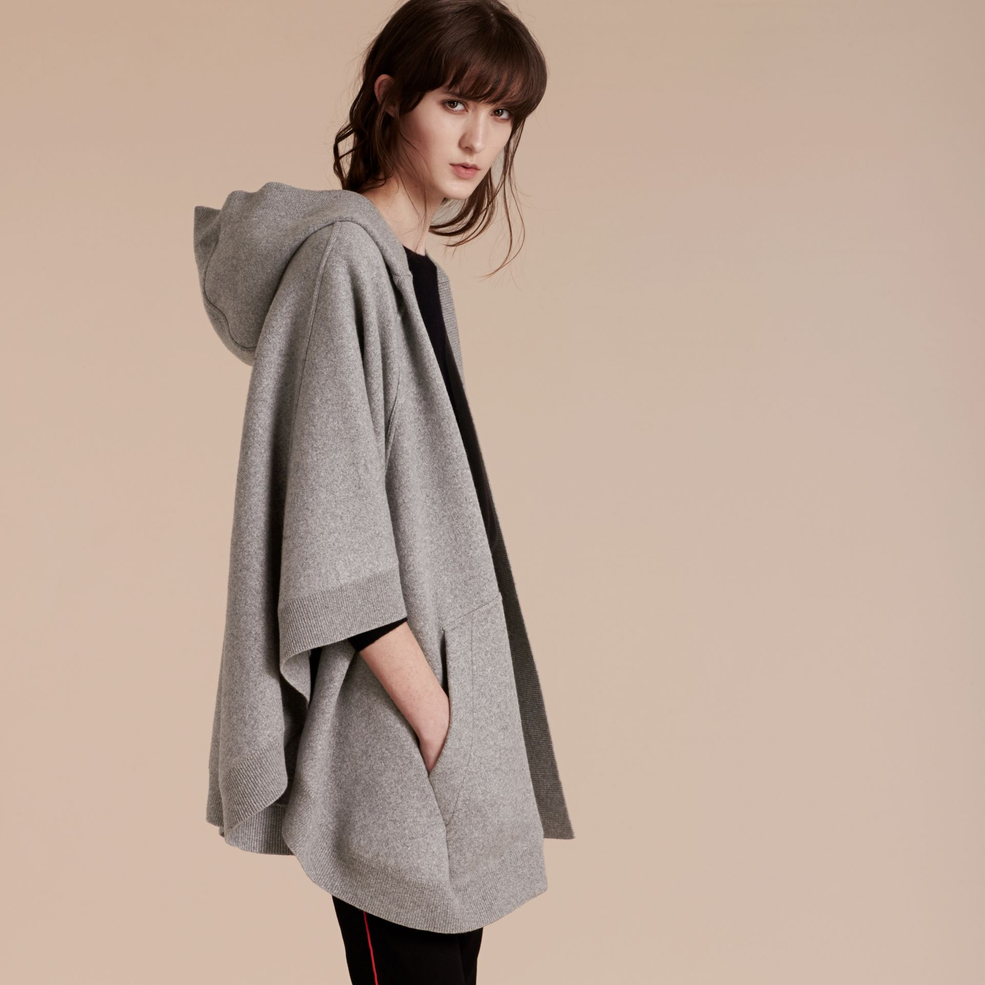 Wool Cashmere Blend Hooded Poncho in Mid Grey Melange - gallery image 3