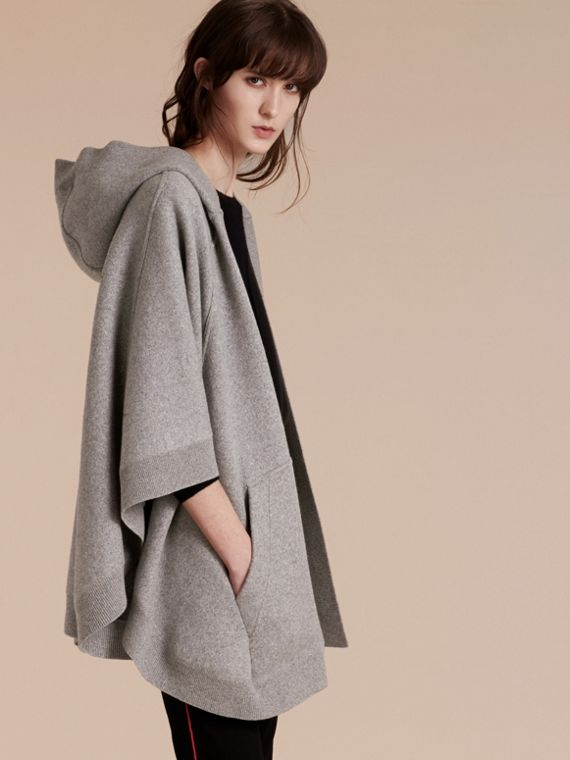 Mid grey melange Wool Cashmere Blend Hooded Poncho Mid Grey Melange - cell image 2
