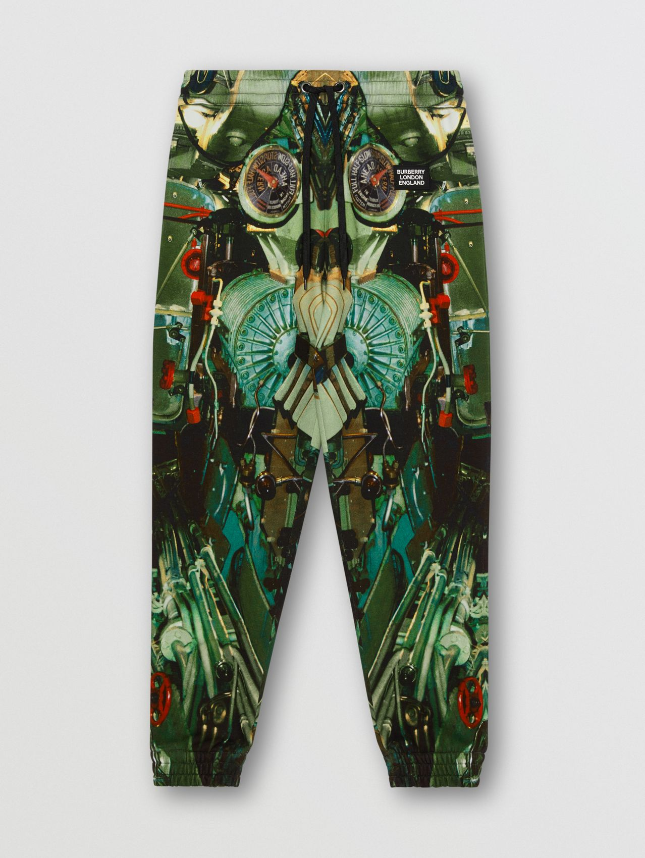 Submarine Print Jersey Trackpants in Celadon Green