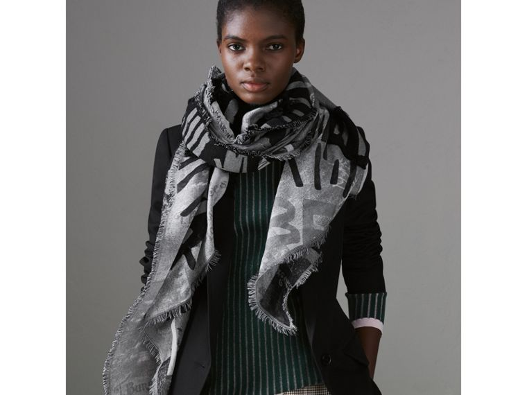 Graffiti Print Fil Coupé Cotton Wool Modal Scarf in Black | Burberry - cell image 4