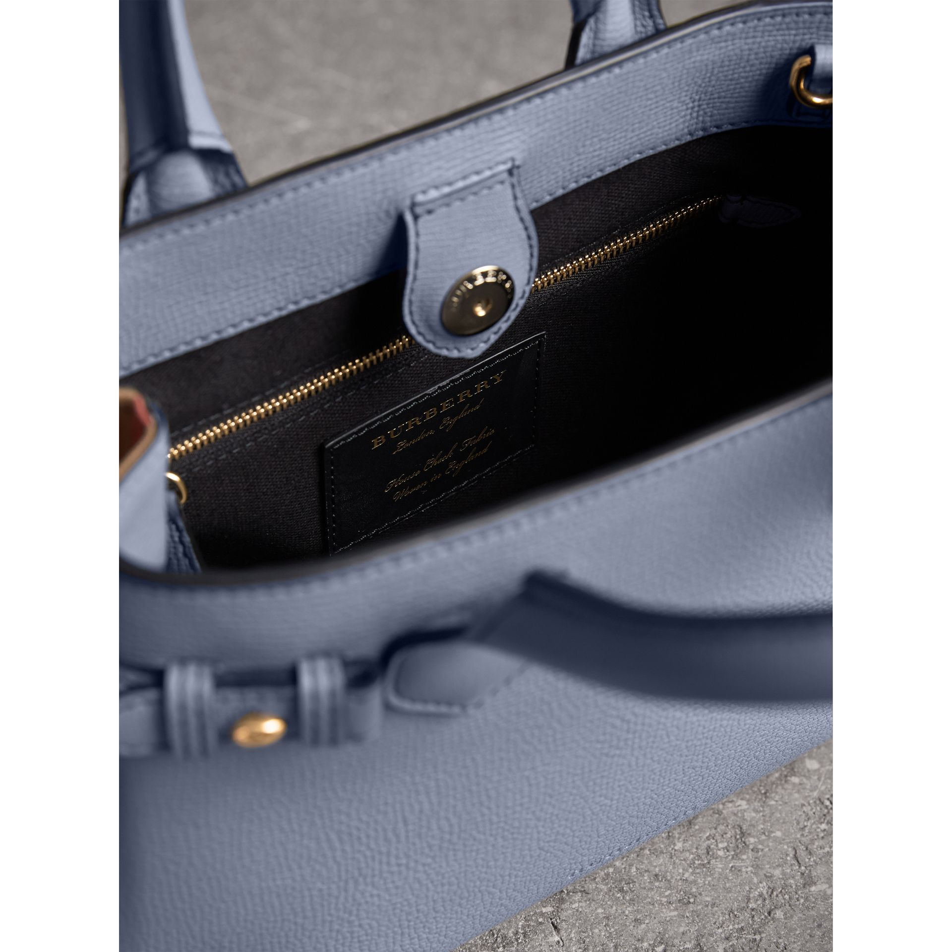 The Small Banner in Leather and House Check in Slate Blue - Women | Burberry - gallery image 6