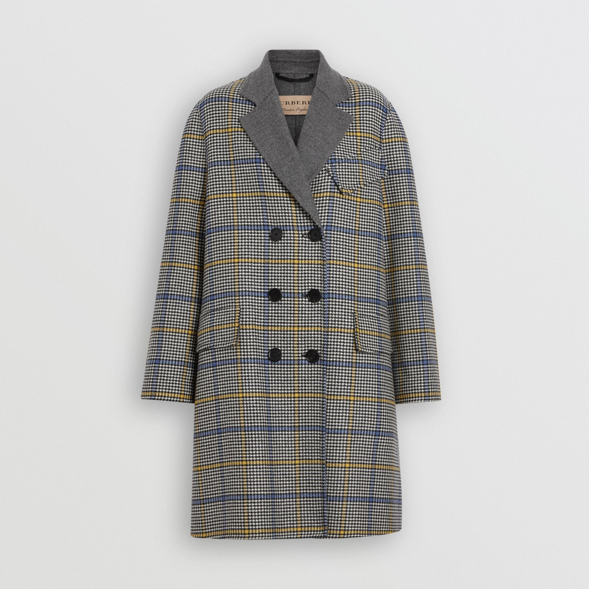 Double-faced Check Wool Cashmere Coat in Parchment - Women | Burberry Australia - gallery image 3