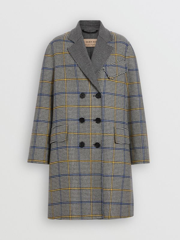 Double-faced Check Wool Cashmere Coat in Parchment - Women | Burberry Australia - cell image 3