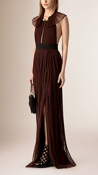 Floor-Length Backless Polka Dot Tulle Dress