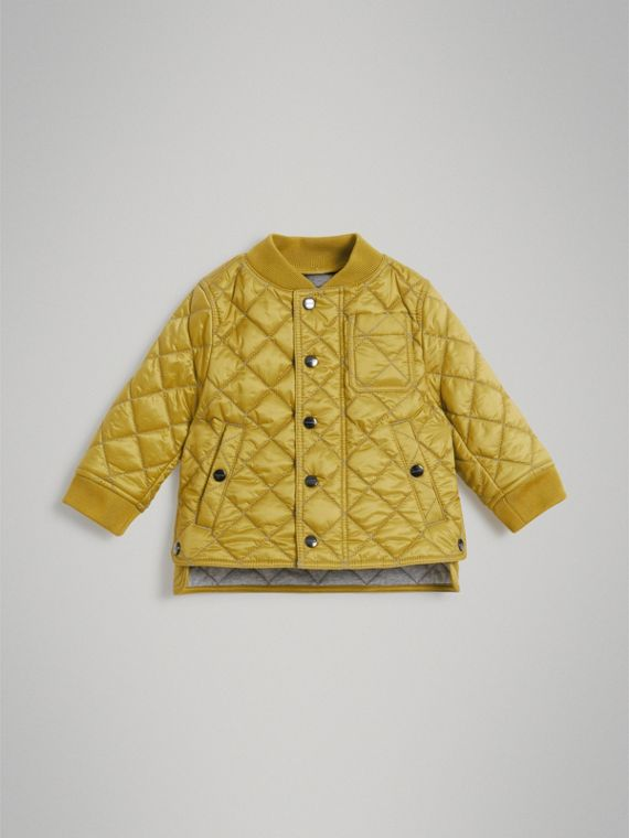 Lightweight Diamond Quilted Jacket in Saffron Yellow