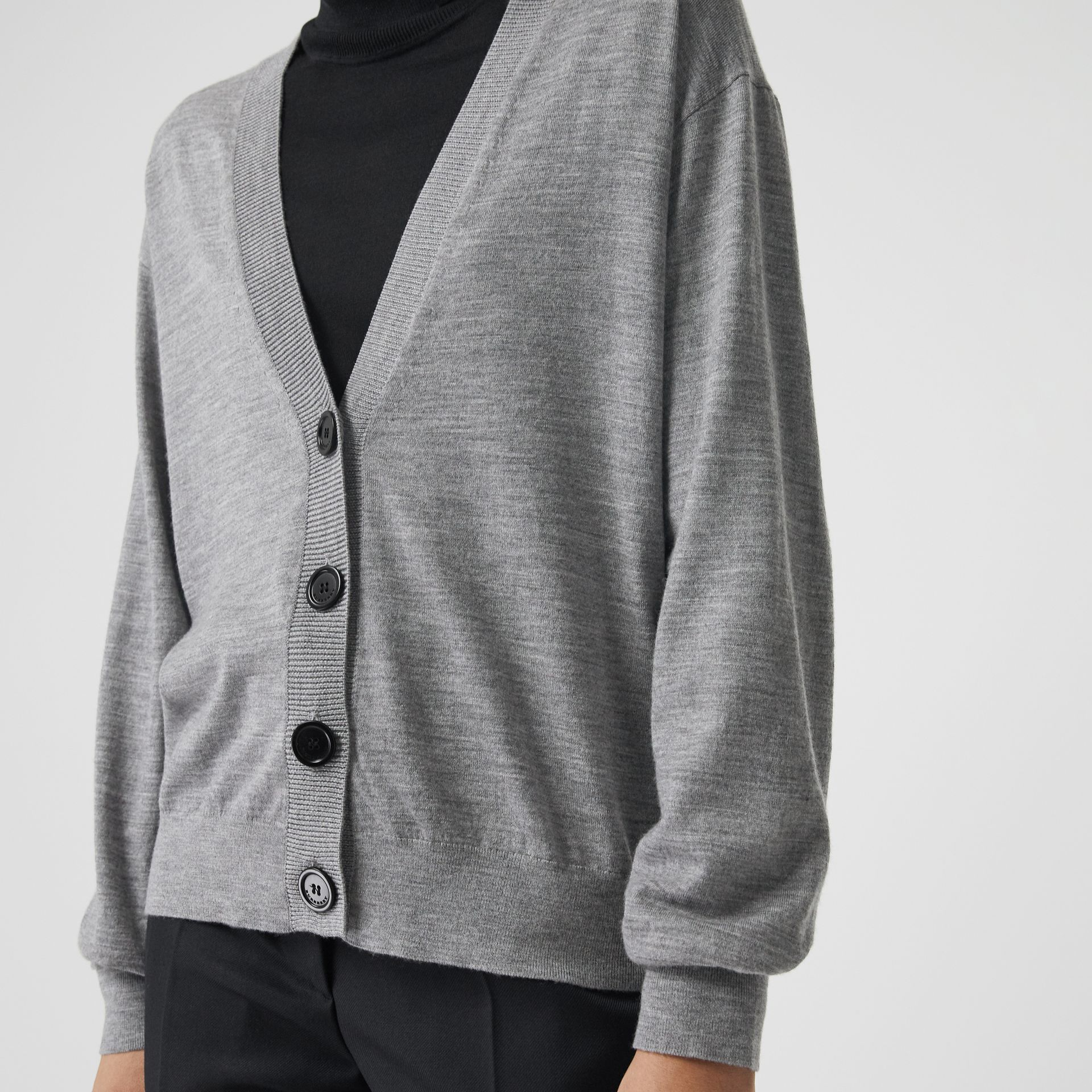 Vintage Check Detail Merino Wool Cardigan in Grey Melange - Women | Burberry Canada - gallery image 1