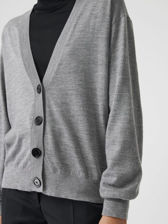 Vintage Check Detail Merino Wool Cardigan in Grey Melange - Women | Burberry - cell image 1