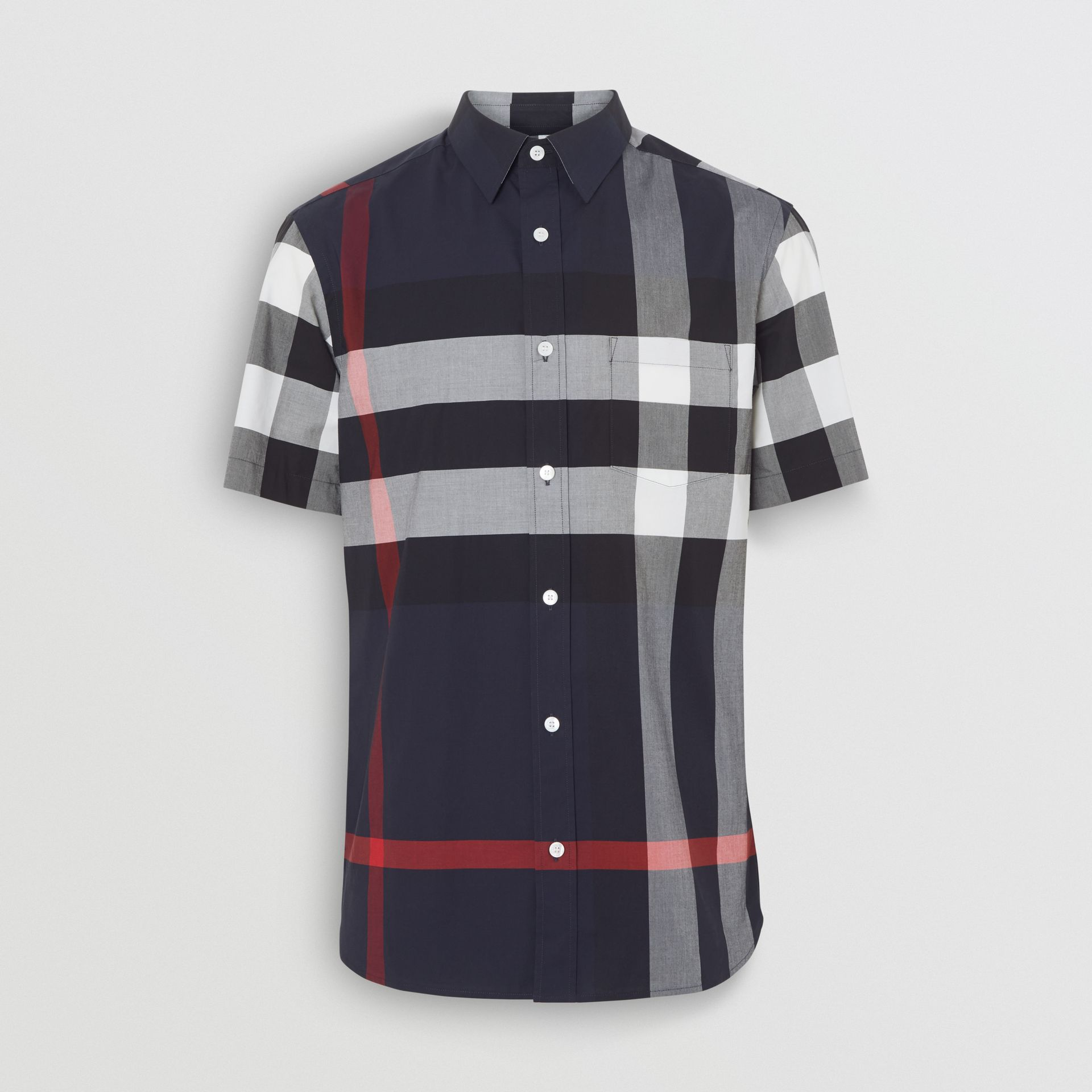 Short-sleeve Check Stretch Cotton Shirt in Navy - Men | Burberry - gallery image 3