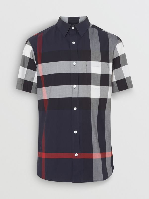 Short-sleeve Check Stretch Cotton Shirt in Navy - Men | Burberry Canada - cell image 3