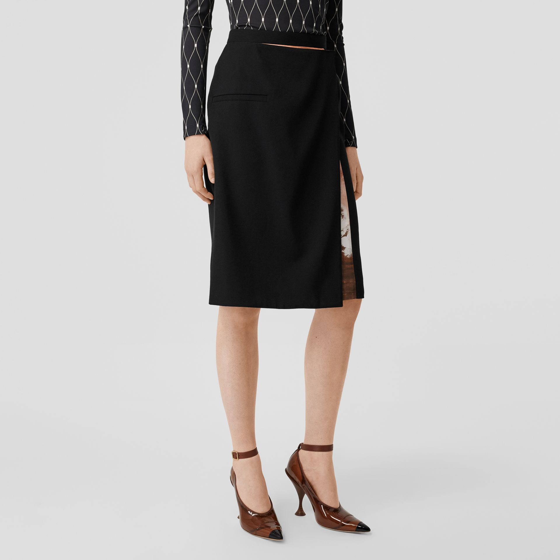 Ship Print Silk Panel Wool Pencil Skirt in Black - Women | Burberry - gallery image 5