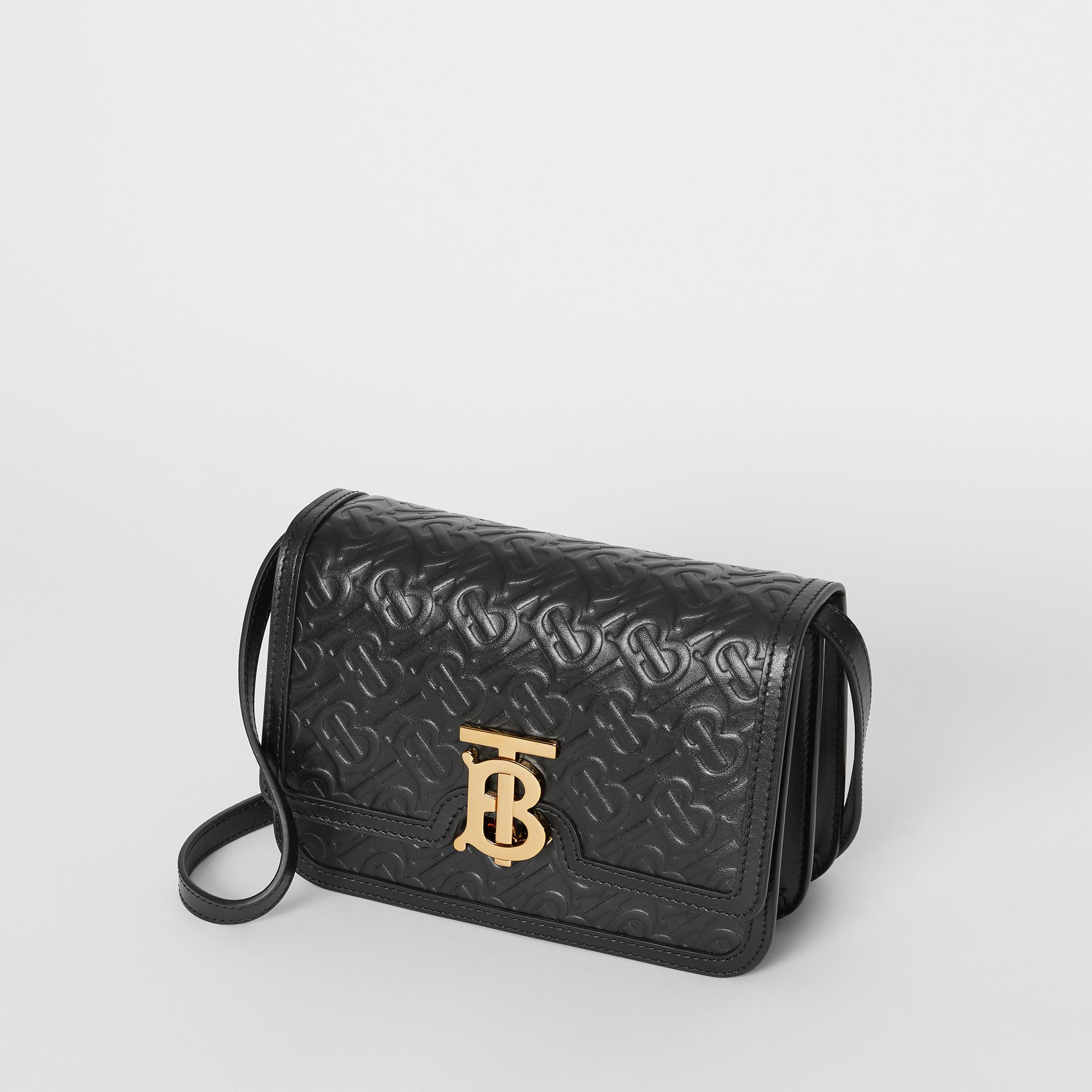Small Monogram Leather TB Bag in Black - Women | Burberry - gallery image 3