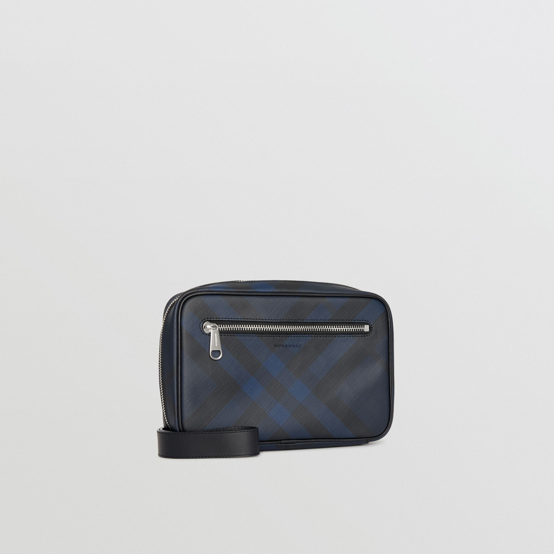 London Check Travel Pouch in Navy/black - Men | Burberry - gallery image 6