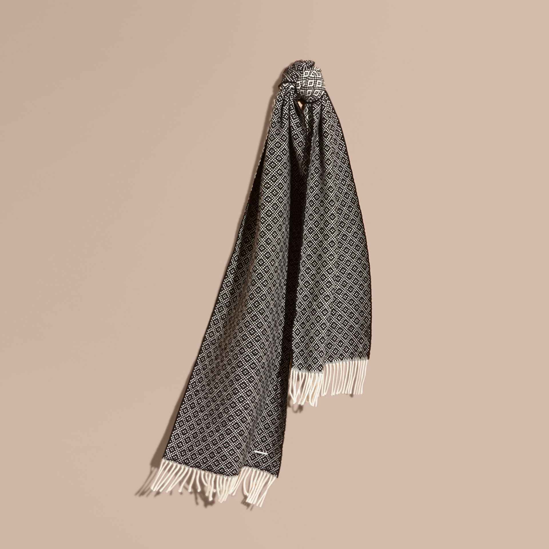 Black/white Diamond Jacquard Wool Cashmere Scarf - gallery image 1