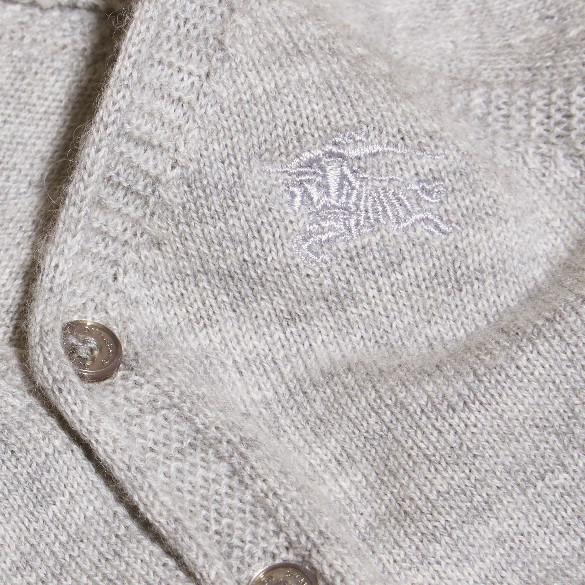 Light grey melange V-neck Cashmere Cotton Cardigan Light Grey Melange - gallery image 2