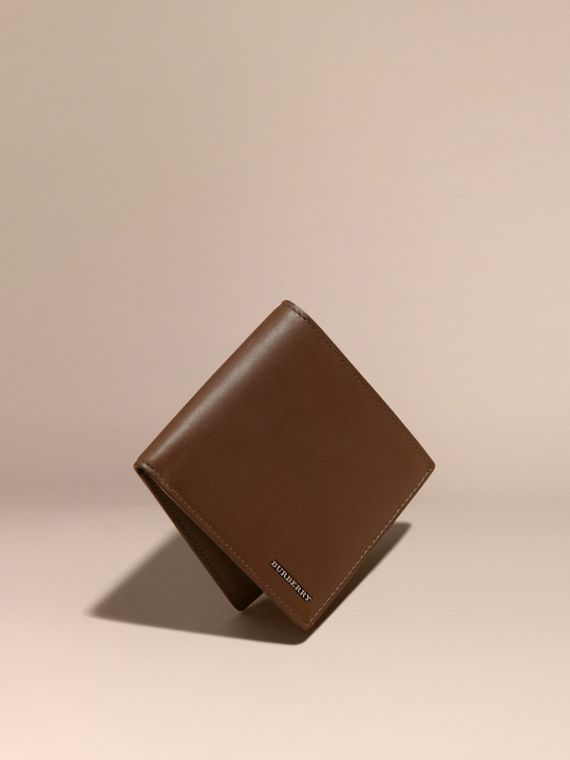 Smooth Leather Folding Wallet Sepia Brown