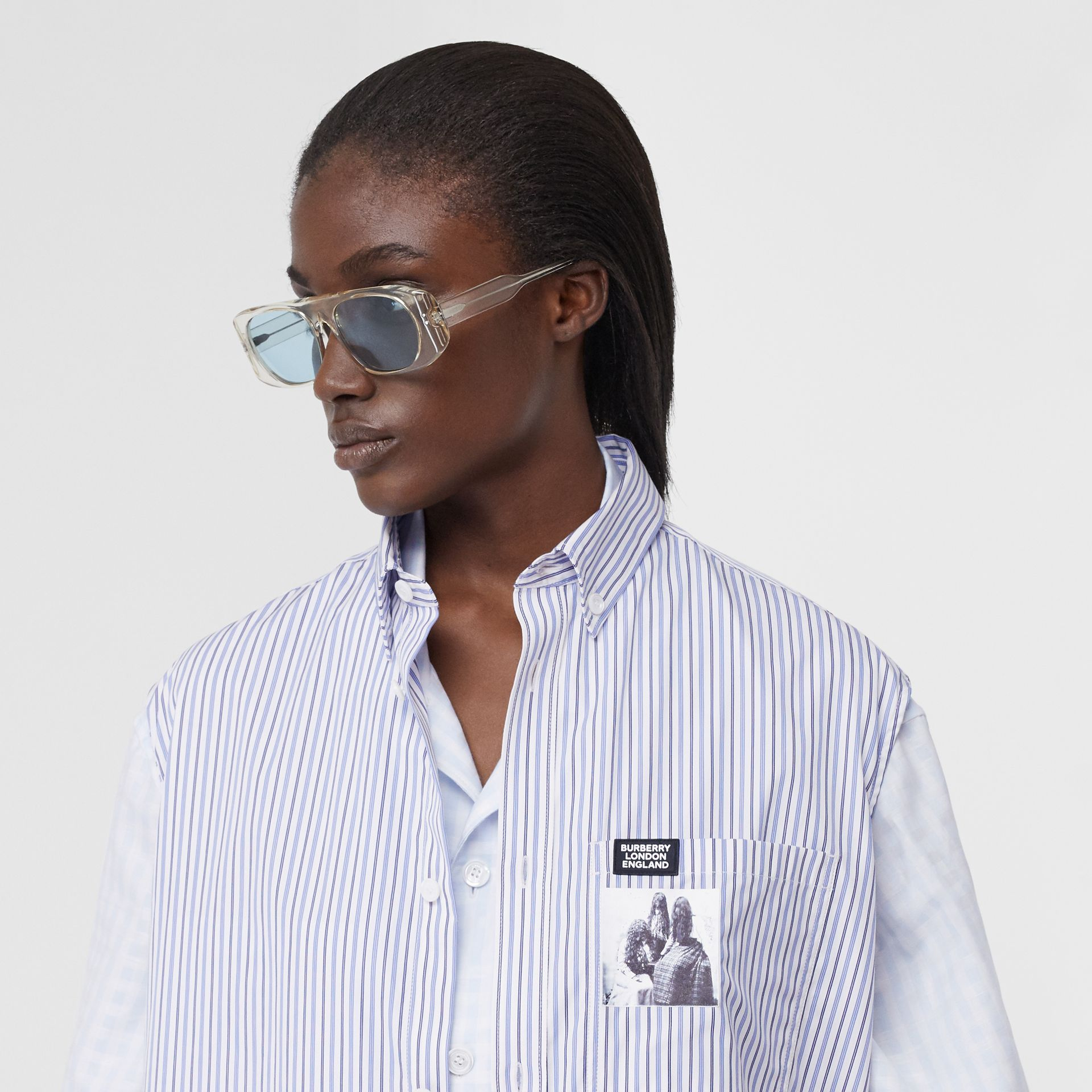 Striped and Gingham Oversized Double Shirt in Pale Blue - Women | Burberry United Kingdom - gallery image 1
