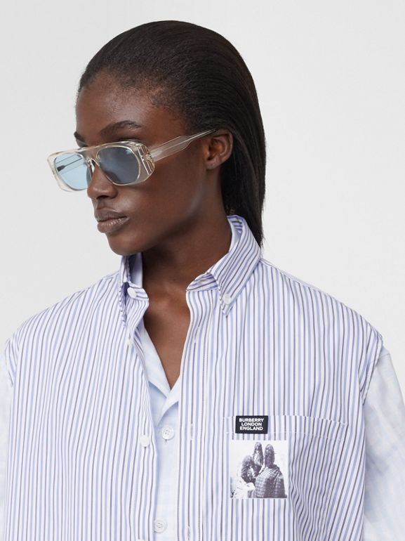Striped and Gingham Oversized Double Shirt in Pale Blue - Women | Burberry United Kingdom - cell image 1