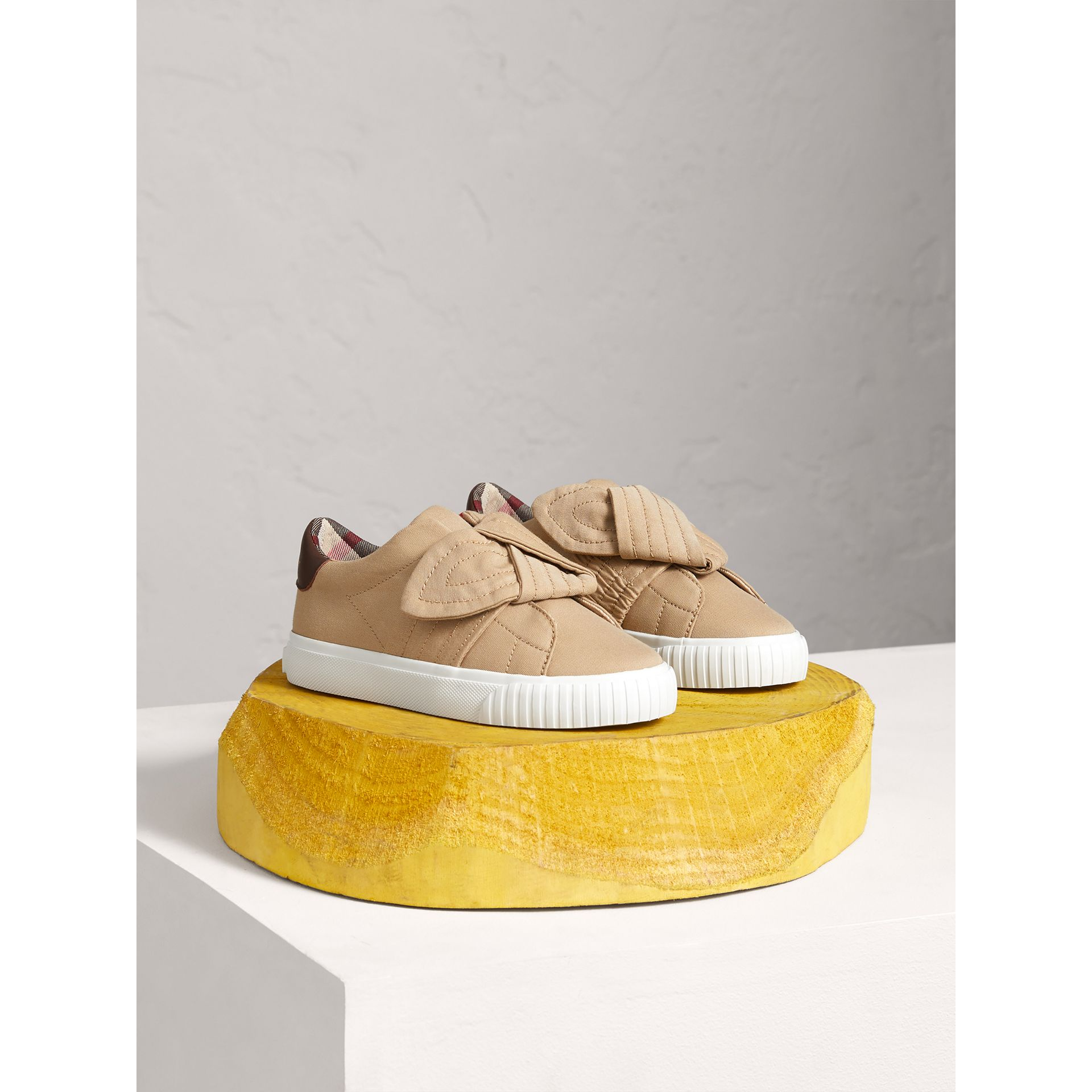 Trench Knot Gabardine Trainers in Honey | Burberry - gallery image 0