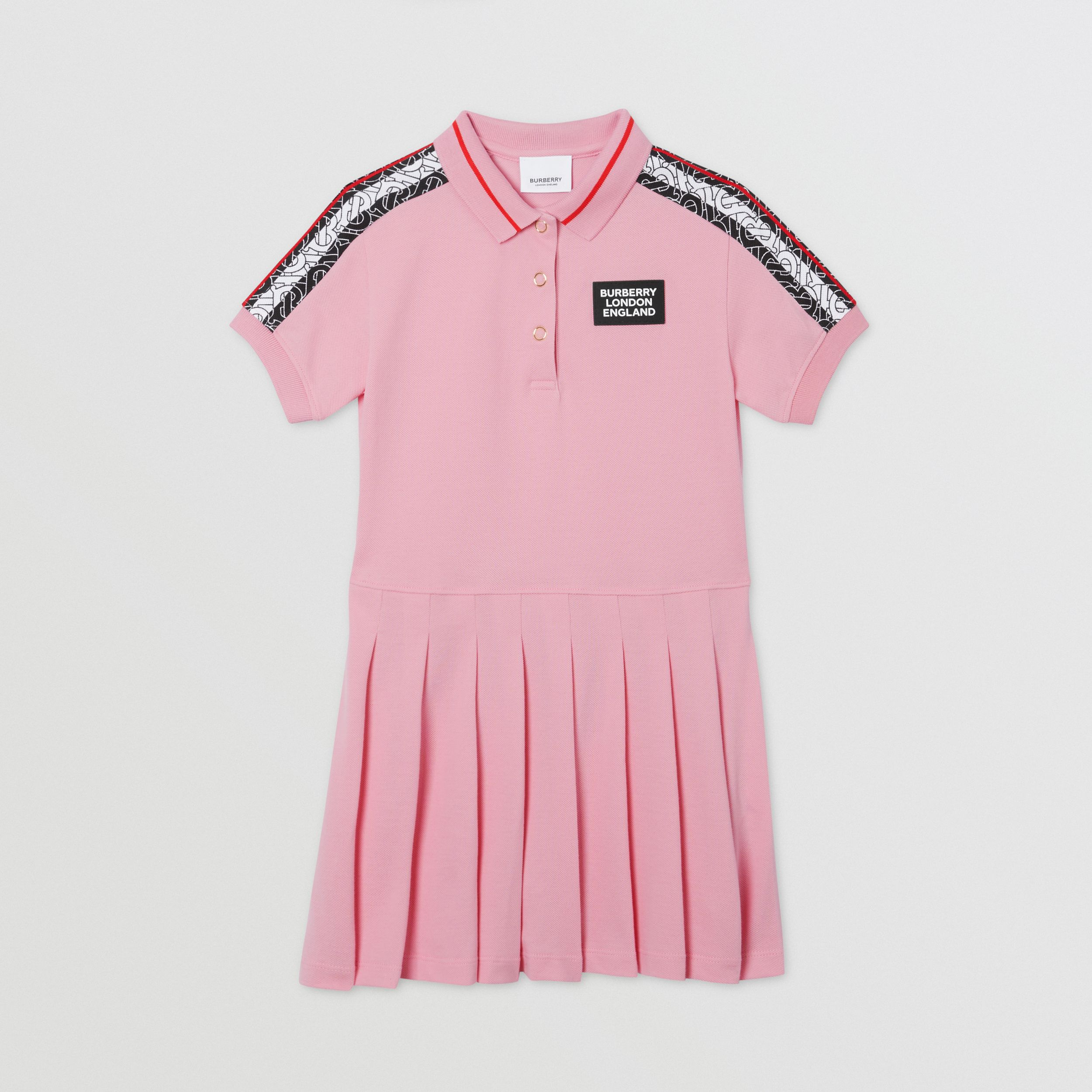 Monogram Stripe Print Cotton Piqué Polo Shirt Dress in Candy Pink | Burberry Canada - 1