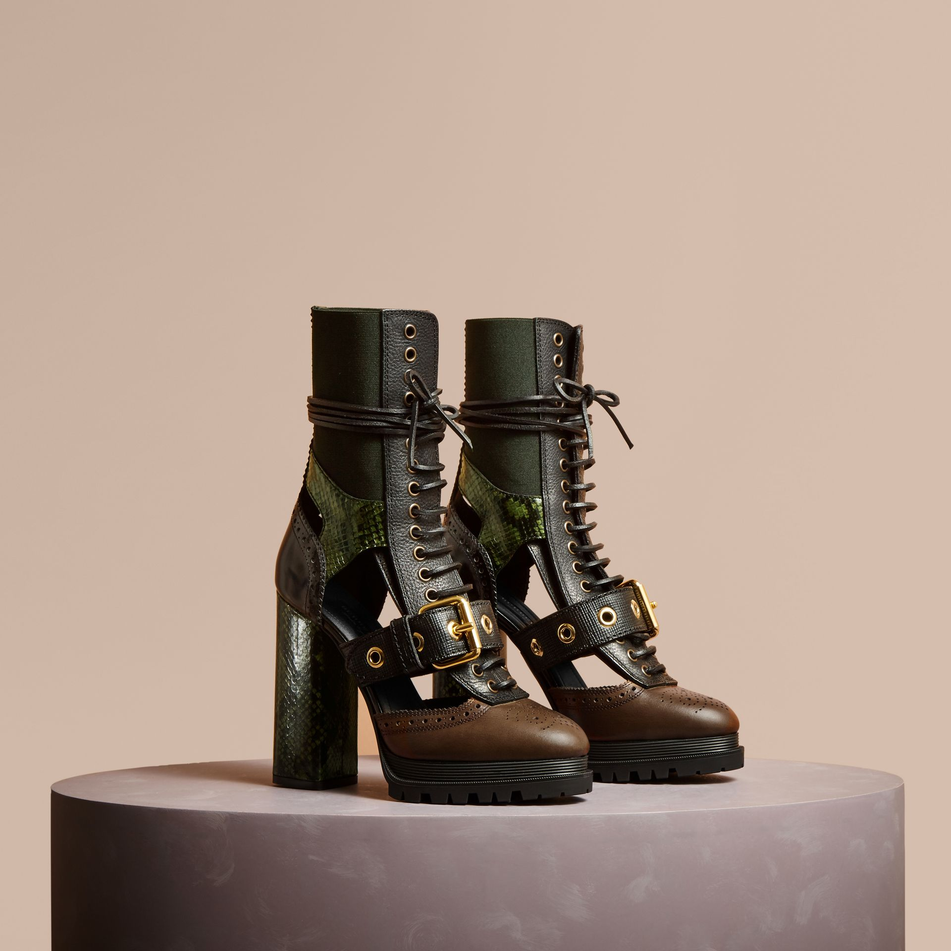 Leather and Snakeskin Cut-out Platform Boots Deep Green - gallery image 1