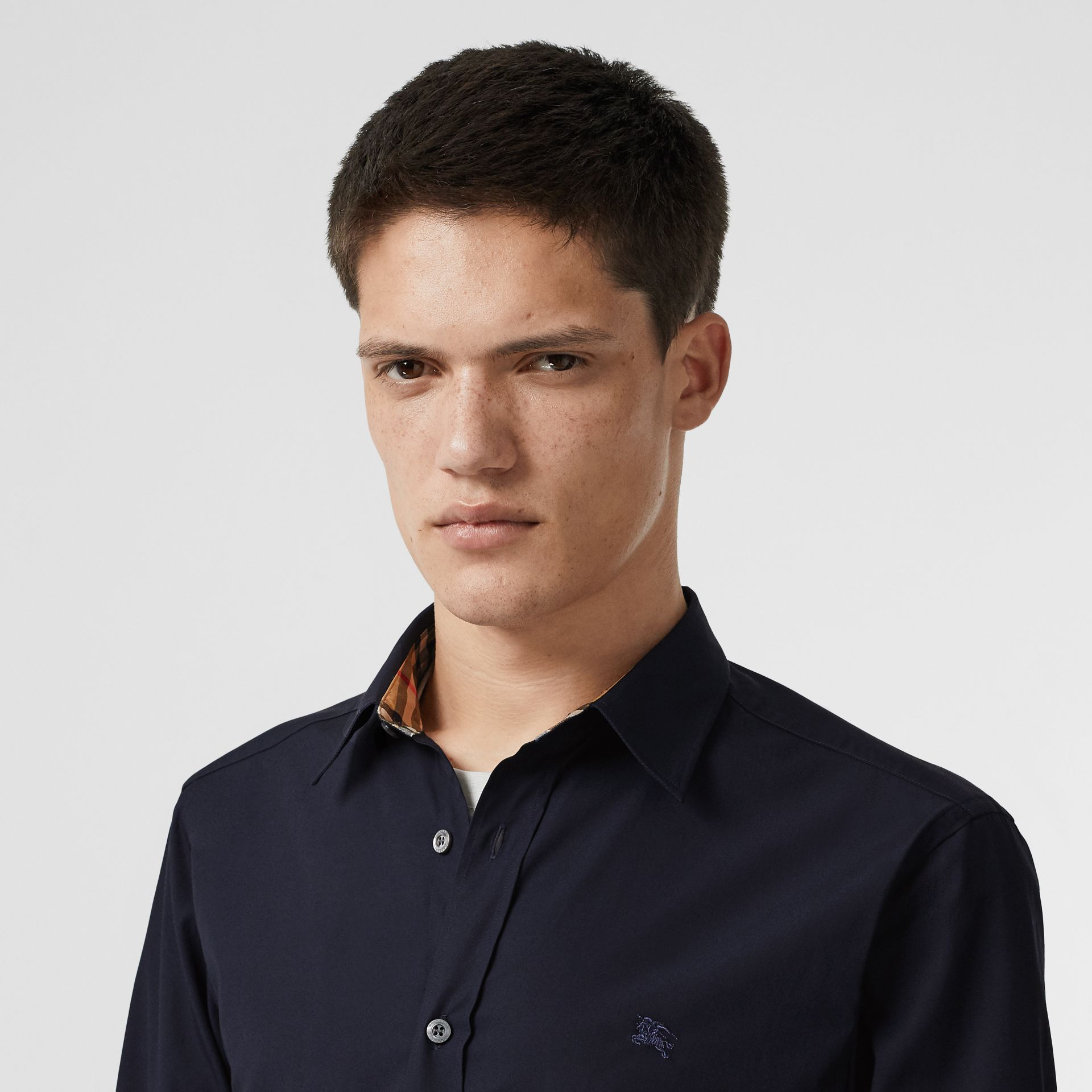 Contrast Button Stretch Cotton Shirt in Navy - Men | Burberry Australia - gallery image 1