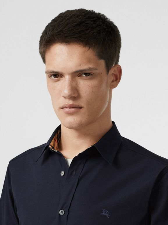 Contrast Button Stretch Cotton Shirt in Navy - Men | Burberry Australia - cell image 1