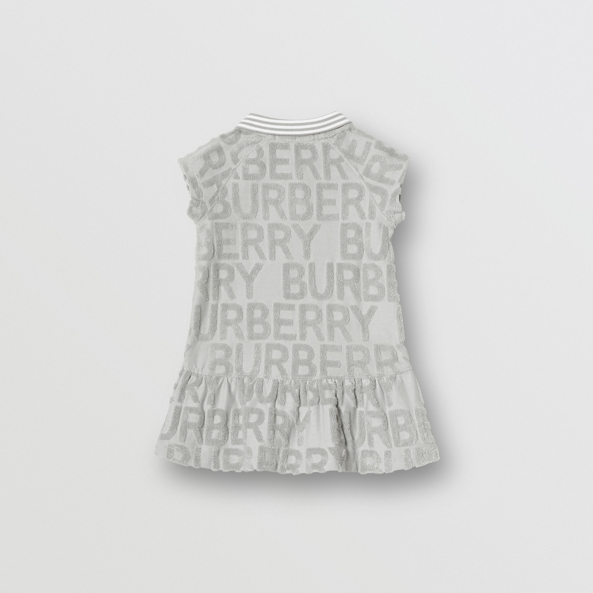 Logo Towelling Polo Dress in Pale Grey - Children | Burberry - gallery image 3