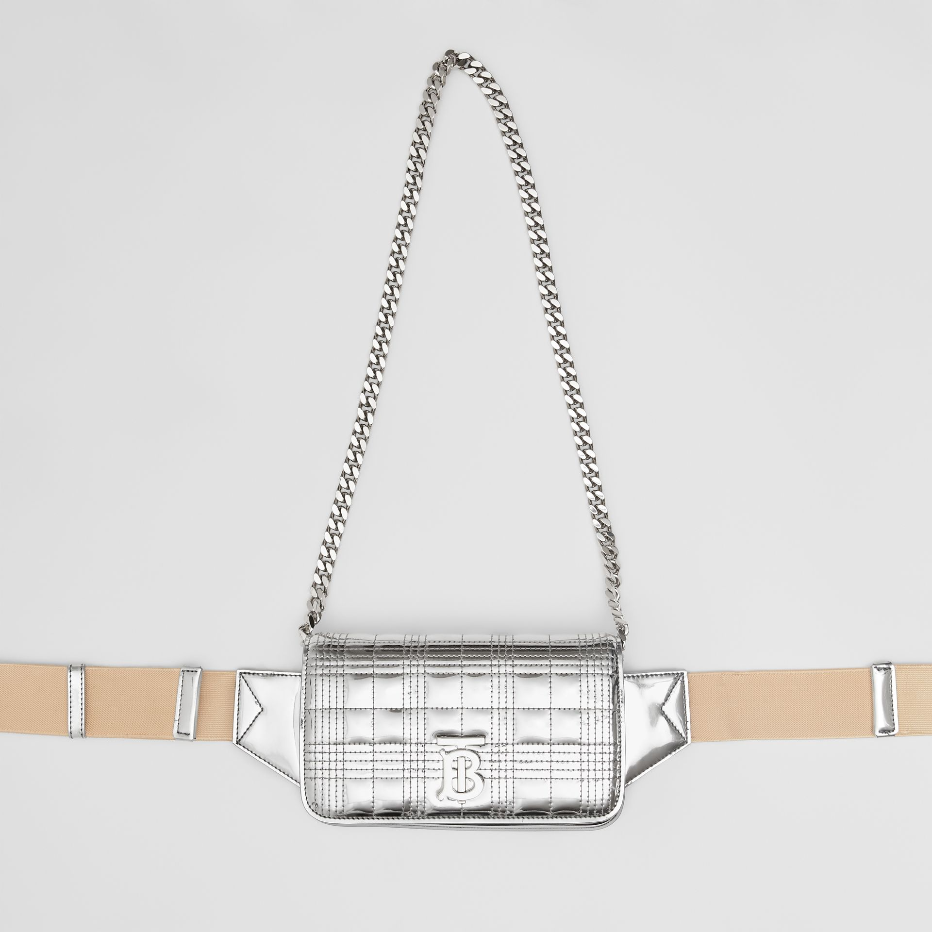 Quilted Metallic Lola Bum Bag with Chain Strap in Silver | Burberry - gallery image 4